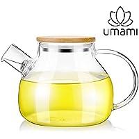 Umami Original Théière Kyoto en Verre 850 ML – Multifonction : Théière, Tisanière, Carafe A Eau Ou A Orangeade | Passe Au Lave-Vaisselle | Durable, Sain & Design