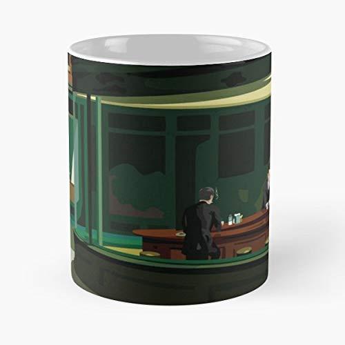 Hopper Nighthawks Smoking Cigarette - Best Gift Mugs Mash Up Pop Art Fan Diner Scene Vector Suit Restaurant Agents Aliens Mug Coffee Best Personalized Gifts - Restaurant Fan