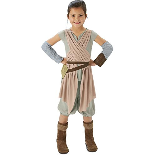 Deluxe Kostüm Leia Kind Prinzessin - Rubie's 3620326 - EP7 Rey deluxe child, 9-10 Jahre, beige