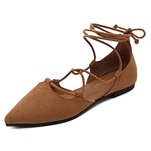Minetom Women Spring Summer Autumn Fashion Casual Solid Color Lace Up Shoes Comfortable Pointed Closed Toe Dance Ballet Flats Loafers Brown UK 7
