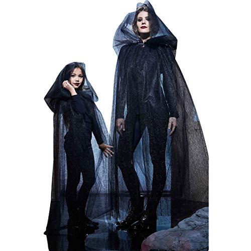 Cape Kostüm Tüll Kind - J&L Mittelalterlicher Umhang Schwarz Damen Kinder Kostüm Halloween Hexe Cape Umhang Mit Kapuze Schier Tüll