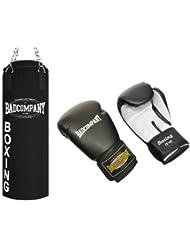 """Profi Box-Set inkl. Canvas Boxsack 80 x 30cm gefüllt, Vierpunkt-Stahlkette und PU Boxhandschuhe """"White Tiger"""""""