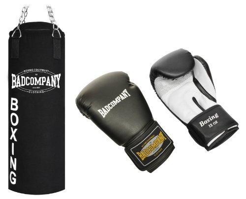 Profi Box-Set inkl. Canvas Boxsack 80 x 30cm gefüllt, Vierpunkt-Stahlkette und PU Boxhandschuhe