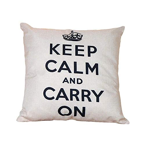 Top Zip Carry On (WHALE LANDY Throw Pillow Cover Decorative Durable Cushion Cover 18 x 18 Pillow Case Keep Calm and Carry On Crown on Top Navy Hidden Zipper Home Decor Fall Winter Sofa Couch Bedroom Living-Room)