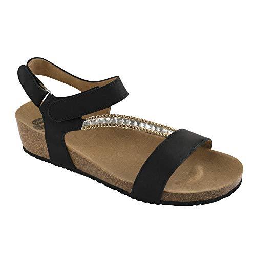 Scholl ss16sbrilli nubuck con decorazioni sandalo per donna, nero, taglia 37