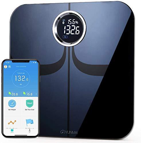 Bilancia Pesa Persona Digitale, YUNMAI Premium Bilancia Impedenziometrica Bluetooth con App Gratuita per iOS e Android, Misurare il peso, il grasso corporeo, la massa magra, l\'IMC e altro (Nero)
