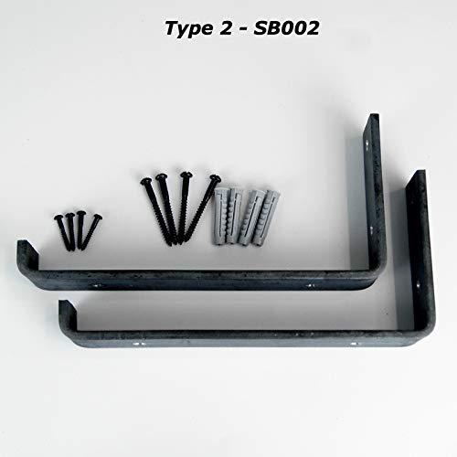 Rustikales Gerüstbrett, Schwerlast-Regalträger/Regalbretter aus Eisen/Stahl (Paar) von BMF Direct® (100 Vorbau Mm)