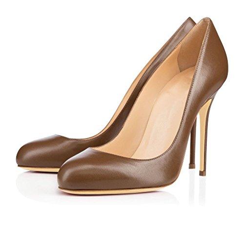 uBeauty Escarpins Femmes Chaussures Stiletto Bout Rond Talon Aiguille Grande Taille Marron