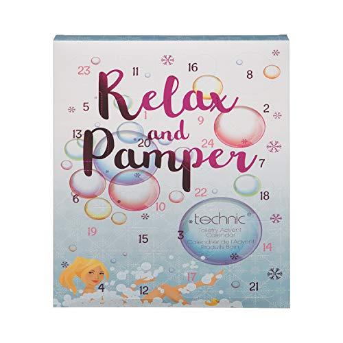Geschenkbox Relax & Pamper Toiletry Adventskalender von technic für Frauen mit Bade-Bomben Badeperlen Badeseifen Fizzer Badepralinen Badesalze - Herz-bade-bombe