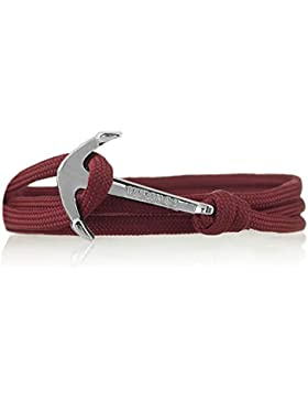 Vikings Silver- Line Anker-Armband Nylon in Bordeaux mit Silbernem Anker 6015