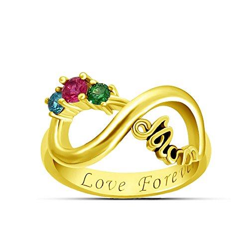 TWinkle Anello Infinity Inciso con 3 Birthstone in Argento Sterling 925 / Oro/Oro Rosa Anelli di Anniversario(d'oro-J 1/2)