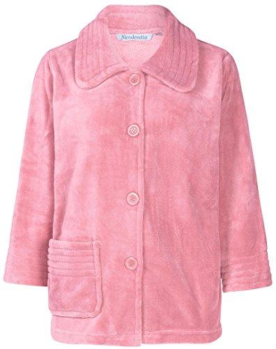 Slenderella Damen 3/4 Ärmel Luxus weichen 260GSM rosa Fleece Taste Up Bett Jacke Größe XXL (Robe Bett-jacke)