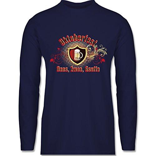 Oktoberfest Herren - Oans, Zwoa, Gsuffa - Longsleeve / langärmeliges T-Shirt für Herren Navy Blau