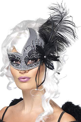 Smiffys Damen Augenmaske mit Feder, One Size, Schwarz und Silber, 27856
