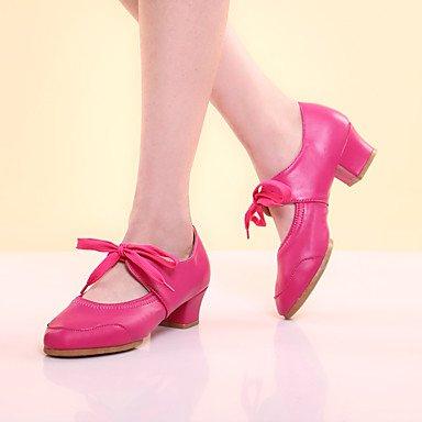 XIAMUO Nicht anpassbar - Die Frauen tanzen Schuhe Leder Leder Latin Fersen Ferse Leistung Schwarz/Rot/Fuchsia/Andere Rot