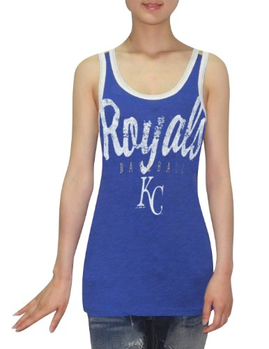 MLB Womens Kansas City Royals Athletic Crew-Neck Tank Top (Vintage Look) Blue