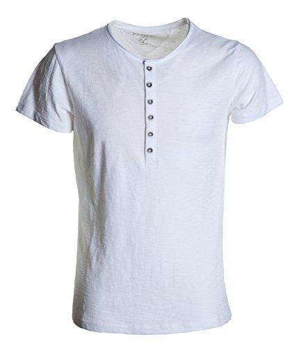 T-shirt Uomo Maglia Maniche Corte e Strette con Girocollo a Sei Bottoni Colletto a Taglio Vivo Payper Unlimited, Colore: Bianco, Taglia: L