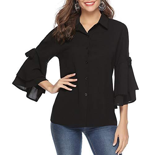 Aibrou camicie donna di chiffon con scollo a v maniche a 3/4 camicetta elegante blusa casual con bottone