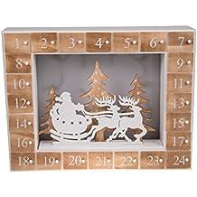 591fd16e04f Calendario de Adviento - 24 días hasta Navidad - Madera - Diorama con Luces  LED para la Noche de Navidad - Funciona a Pilas - Papá Noel