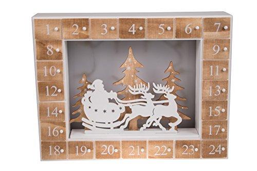 Clever Creations Calendario dell'Avvento con Babbo Natale su Slitta - 24 cassetti - Diorama con Luce LED - in Legno - 35 x 27 cm - Alimentato con Batteria