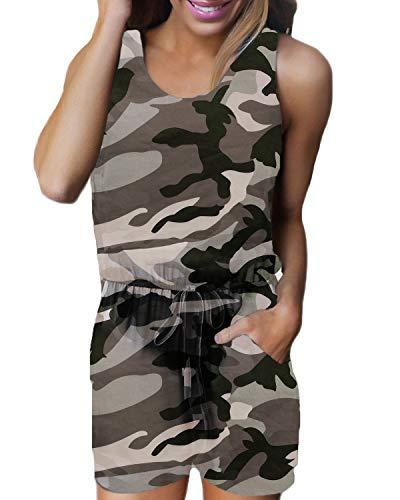 Kurz Rundhals Jumpsuit Camouflage Playsuit Sommer Strand Einteiler C-braun Camouflage XXX-Large ()