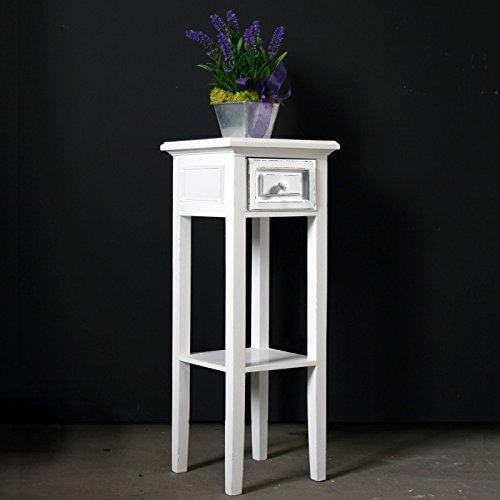 My Flair Meridian Telefontisch / Beistelltisch / Konsole antik weiß, Landhausstil mit...