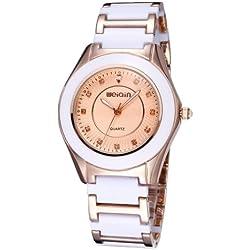WEIQIN 2735Round Dial Rhinestone Scale Fashion Damen Weiblich Quarz Uhr mit Alloy & Ceramic Band (Gold + Gold)