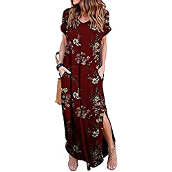 Vestidos Mujer Casual Playa Largos Verano Floral Vestido Boho Hendidura Falda Larga Maxi Vestido Playeros Winefloral XL