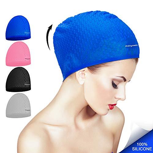 Gorro de natación para cabello largo   rizado de silicona Sombrero de baño  de natación para adultos Piscina Laps Látex Látex Reducir el consumo de  agua ... 590487ff716