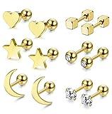 0fb673d7b50f Milacolato 6 pares de pendientes de bola de acero inoxidable para hombres  mujeres CZ cartílago Helix