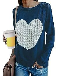 Tuopuda Jersey Mujer Otoño Punto Suéter Básico Jerséis Casual sólido Largo Manga Jersey Amor suéter Suelto Sudaderas de O-Cuello Invierno Oversize Blusas Tops