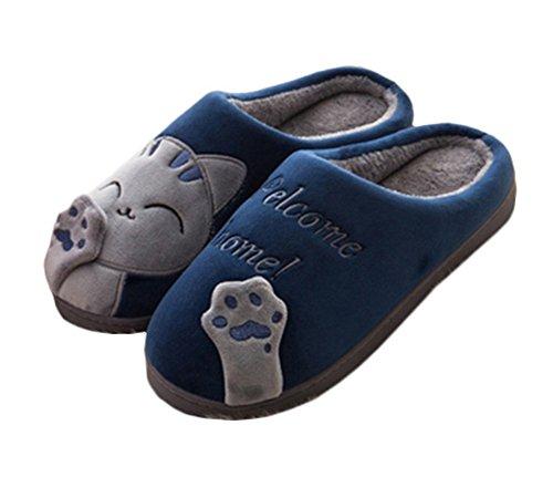 Minetom Inverno Unisex Morbido Caldo Peluche Casa Pantofole Cartone Gatto Carino Antiscivolo Pattini Donna Uomo Scarpe Slippers D Blu EU 38 39