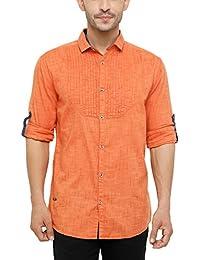 SHOWOFF Men's Cotton Full Sleeve Slim Fit Checks Casual Shirt (Rapid_Orange)