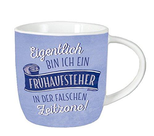 Grafik Werkstatt 60581 Kaffee-Tasse mit Spruch, Frühaufsteher, spülmaschinengeeignet, Porzellan, schwarz, 12.5 x 9.5 x 8.5 cm