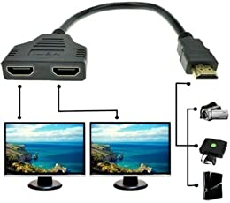 Galaxy Hi-Tech 1080p Hdmi Male to Dual Hdmi Female 1 to 2 Way Hdmi Splitter Cable Adapter
