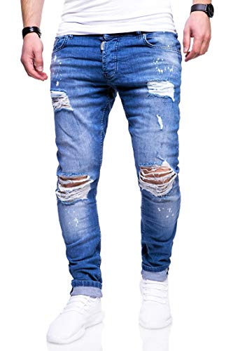 behype. Herren Destroyed Stretch Jeans-Hose Used Slim-Fit 80-2369 Blau W36/L32
