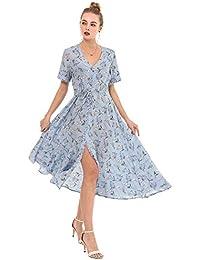 823186820c3 Wantdo Femme Robe Longue Boutonnée à Manches Courtes Col en V Robe à Fleur  avec Cordon