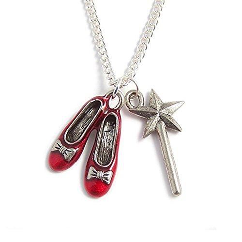 f Oz Charm Halskette–Ruby Red Hausschuhe und die gute Witch Of The North 'S Magische Zauberstab (Der Zauberer Von Oz Film Länge)