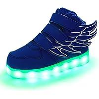 Zapatillas Deportivas LED niño/niña, Luces LED de Movimiento de Flash Variable de 7 Colores se Pueden Cargar a través de un Cable USB. Llamas y alas - diseño