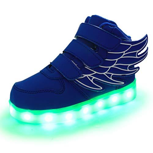 Vansney LED - Laufschuhe Schuhe Für Junge/Mädchen, 7 Farben Wechselhaftes Blinken Sport LED Leuchten Chargable Durch USB-Linie. Flamme und Flügel - Design