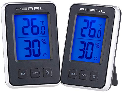 PEARL Raumthermometer: 2er Pack Digitales Thermometer/Hygrometer mit großem beleuchtetem LCD