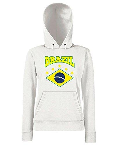 T-Shirtshock - Sweats a capuche Femme WC0042 BRAZIL BRSILE Blanc