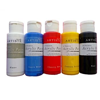 acrylic craft paint set red blue yellow black white pack of 5 x