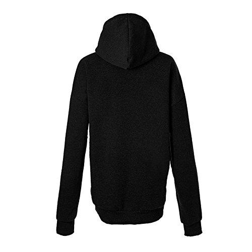 Sfit Femme Pull Sweats à Capuche Sweater Lâche Noir