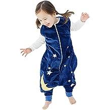 Happy Cherry - Infantil Saco de Dormir Mono del Algodón Franela con Cremallera Pijama de Bebé Cartoon para Niños Niñas - Marrón Azul Gris Amarillo Verde - Talla S(1-3 años) M(3-5 años) L(5-6 años)
