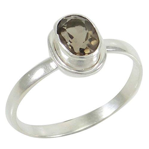 Smokey Topas Stein 925 Sterling Silber Ring Damen Modeschmuck Für Frauen (Ringe Smokey Topas)