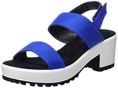 MTNG Tecno, Sandales Plateforme Femme Bleu (Lycra Azul Electricopeu Azul Electric)