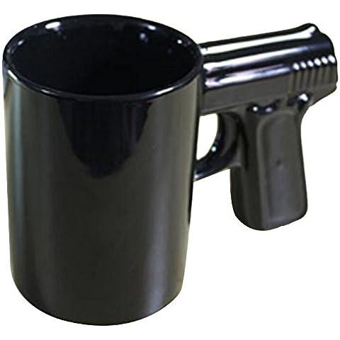 3 pezzi, a forma di pistola Borraccia da tè o caffè in ceramica con manico a pistola per scherzi per festa divertente Tazza per bevande, Ceramica,