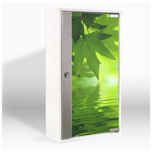 #Medizinschrank mit Glastür und Motiv: Blättertraum#