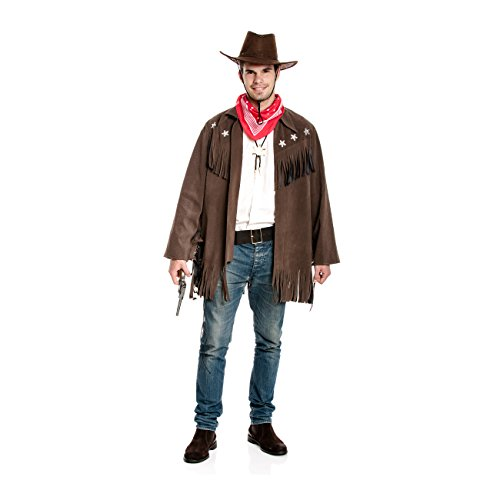 Kostümplanet® Cowboy Kostüm Herren Western Jacke Sheriff Cowboykostüm Größe - Revolverheld Cowboy Kostüm Für Erwachsene